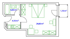 PLAN DOPPELAPARTMENT - 36 qm